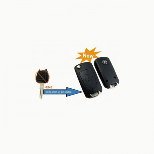 Modified Flip Remote Key Shell 2 Button (HU46) for Opel cars 5pcs/lot