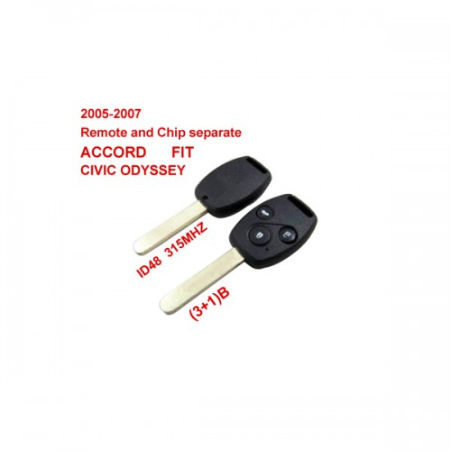 2005-2007 Remote Key 3+1 Button and Chip Separate ID:48(315MHZ) for Honda Fit ACCORD FIT CIVIC ODYSSEY