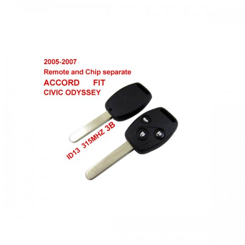 2005-2007 Remote Key 3 Button and Chip Separate ID:13 (315MHZ) for Honda Fit ACCORD FIT CIVIC ODYSSEY