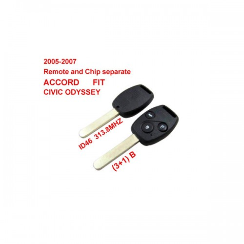 Remote Key (3+1) Button and Chip Separate ID:46 (313.8MHZ) For 2005-2007 Honda Fit ACCORD FIT CIVIC ODYSSEY