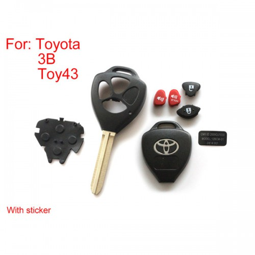 5pcs/lot Remote key shell 3 button with sticker for Toyota