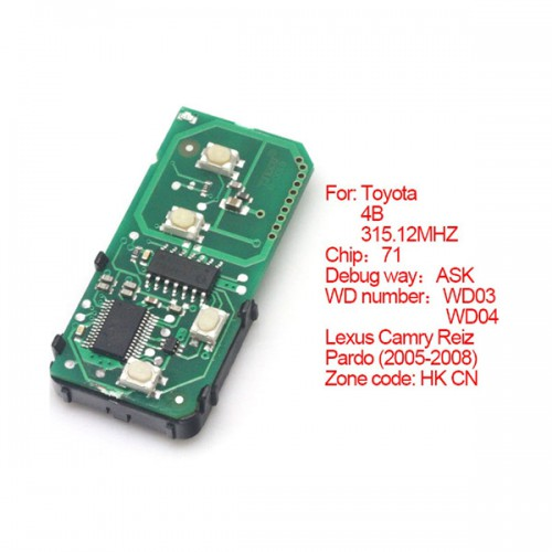 Smart card board 4 buttons 315.12MHZ number :271451-0140-HK-CN for Toyota