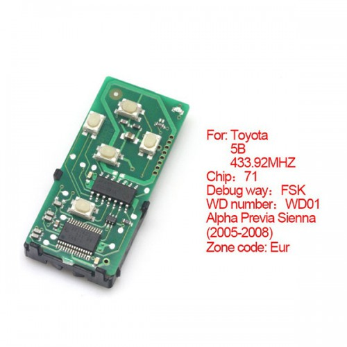 Smart card board 5 buttons 433.92MHZ number :271451-6221-Eur for Toyota