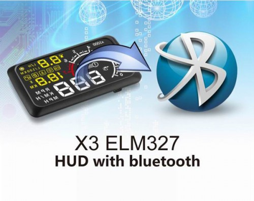 "5.5"" X3 Bluetooth Large Screen Car HUD Head Up Display With Built-in ELM327 Module"