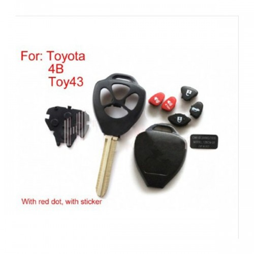 5pcs/lot Remote Key Shell 4 Button (with red dot) for Toyota