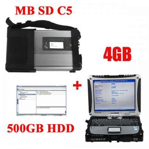 V2019.03 MB SD C5 Connect Compact 5 Star Diagnosis with Panasonic CF19 I5 4GB Laptop and Pre-Installed Software