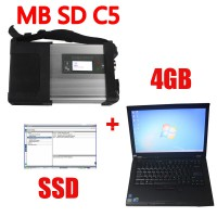 V2019.09 MB SD Connect C5 Star Diagnosis with 256GB SSD Software Plus Lenovo T410 4GB Second Hand Laptop With DTS Monaco & Vediamo