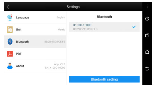 x100c bluetooth setting