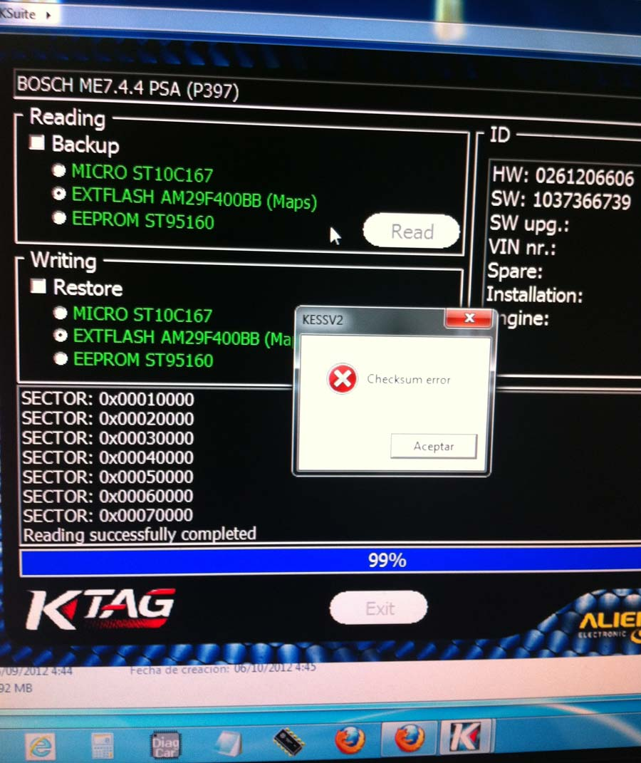 ktag checksum error