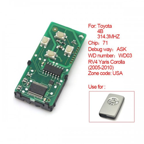 Smart Card Board 4 Key 314Mhz Number 0111-USA for Toyota