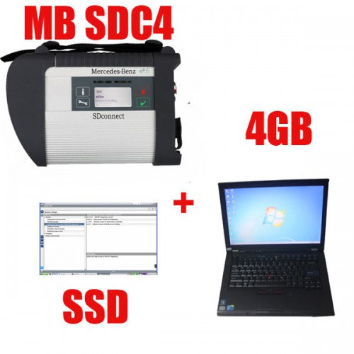 V2019.09 MB SD C4 Star Diagnosis with 256GB SSD Software Plus Second Hand Lenovo T410 Laptop With DTS Monaco & Vediamo