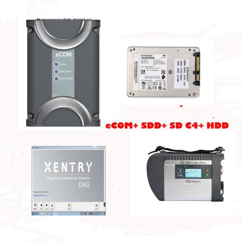 Benz eCOM DoIP Diagnosic Tool with 256G SSD plus MB SD Connect C4 with 2020.03 Xentry Software HDD
