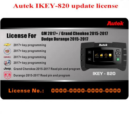 Autek iKey820 Software License for GM 2017-2020 Jeep Dodge 2014-2017