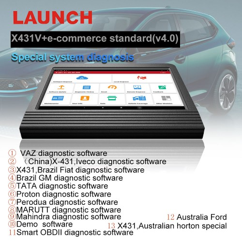 "(US, UK Ship No Tax) Launch X431 V+ 10""  V4.0 Wifi/Bluetooth Global Version Full System Bi-Directional OBD Scanner Android OS"