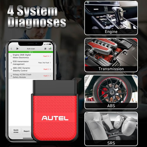 AUTEL MaxiAP AP200H Bluetooth OBD2 Scanner Code Reader for All Vehicles Supports Android, IOS Free Shipping
