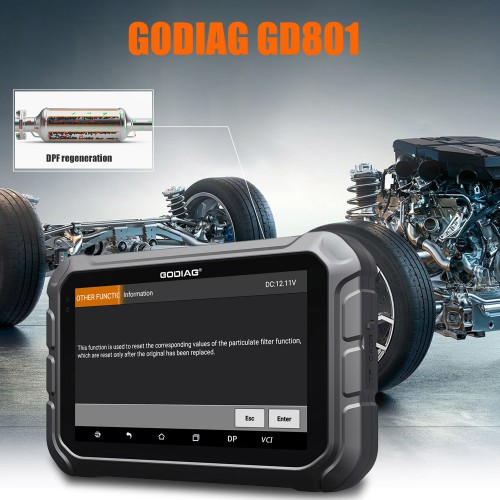 GODIAG GD801 Multi-Language Key Programmer Supports Mileage Correction ABS EPB TPMS EEPROM With Free Gift GT100 OBDII Detector