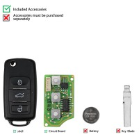 Xhorse XKB510EN Universal Remote Key B5 Type 3 Buttons for VVDI VVDI2 Key Tool(English Version)