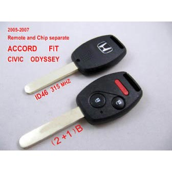 Remote Key (2+1) Button and Chip Separate ID:46 (315MHZ) For 2005-2007 Honda ACCORD FIT CIVIC ODYSSEY ID:46 ( 315 MHZ )