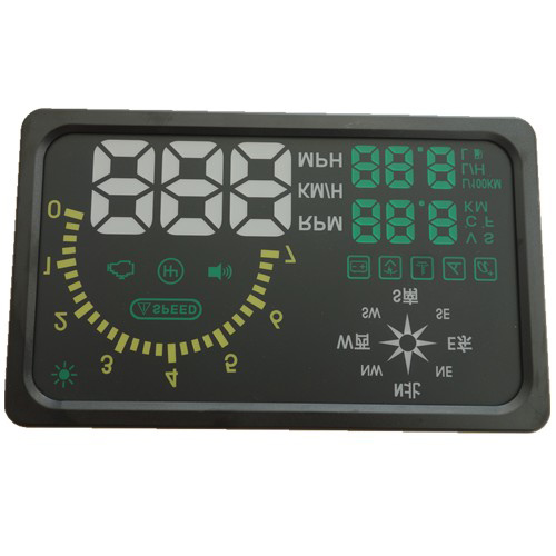 "New 6"" LED OBD-II HUD Head Up Display Over Speeding warning/speed/Km rpm/shift light/temperature With Compass"