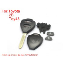 Remote Key Shell 2 Buttons for Toyota Corolla Easy to Cut Copper-nickel Alloy Big Logo Without Sticker 5pcs/lot