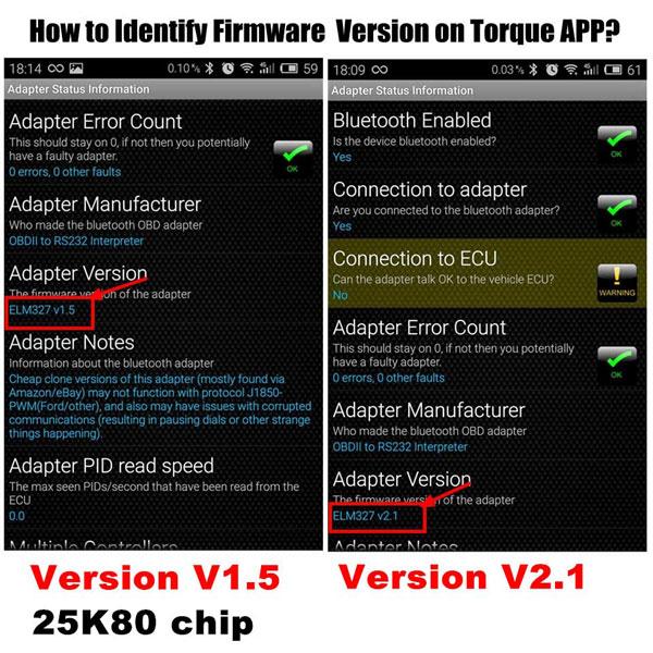 1 5V ELM327 Bluetooth Software OBD2 CAN-BUS Scanner Tool Software V2 1