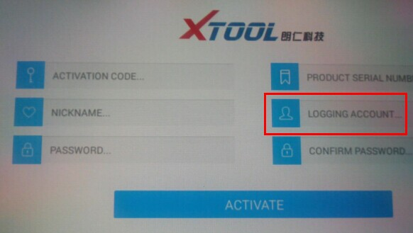 XTOOL X1100 PAD Logging Account